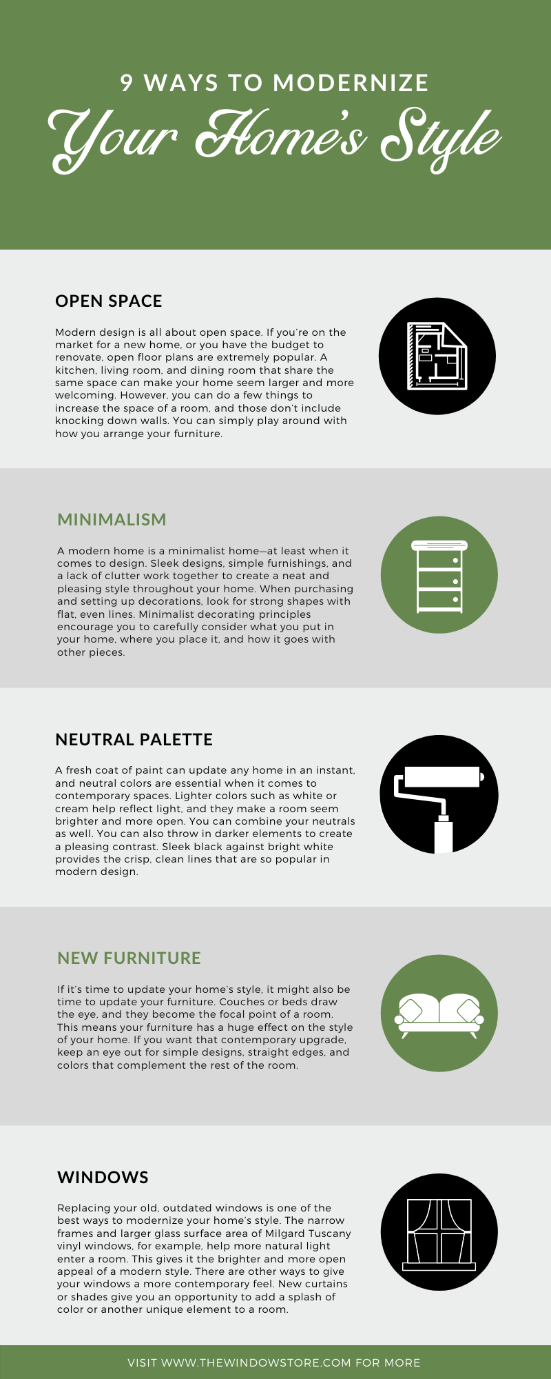 9 Ways to Modernize Your Home's Style infographic